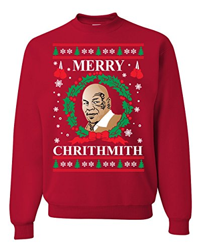 Merry Chrithmith Mike Tyson Ugly Christmas Sweater Unisex Crewneck Sweatshirt, Red, Medium ()