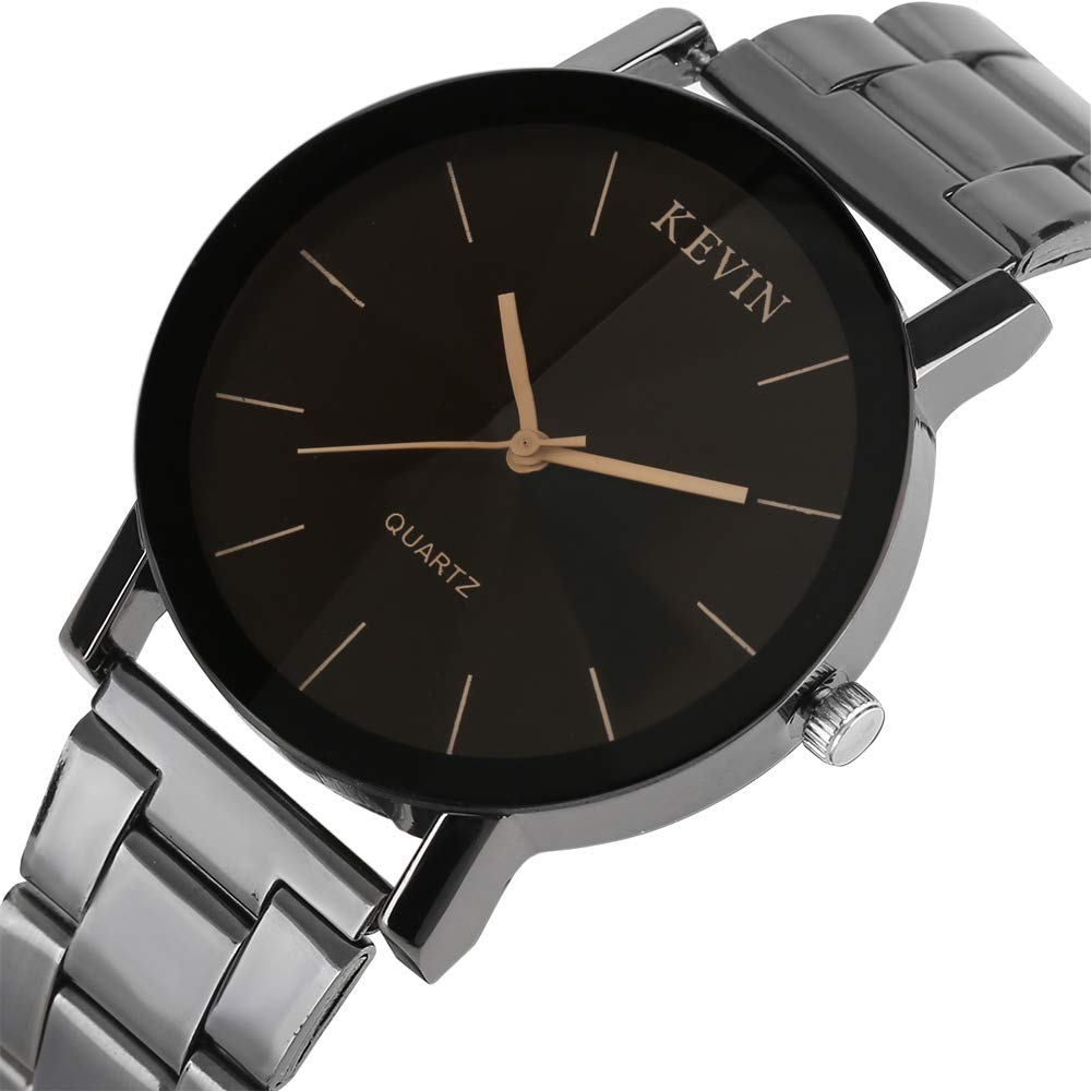 e379ad2c5d54 Relojes de Hombre de la Marca Kevin de Acero Inoxidable Negro Correa de  Reloj de Cuarzo Relojes para Hombres y Mujeres  Amazon.es  Relojes