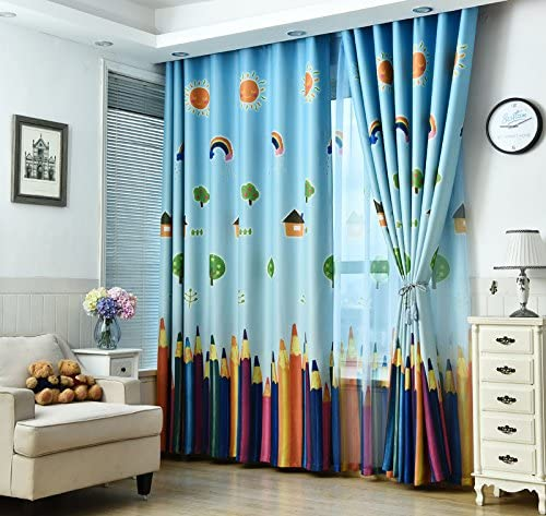 TIYANA Home Decor Pencil Pattern Curtains Thermal Insulated Textured Semi Blackout Curtains Window Treatment Curtain Panels Drapes for Kids Room Bedroom Living Room Grommet 95 by 96 inch, 1 Panel