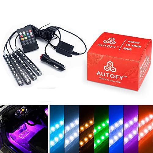 Autofy Universal Atmosphere Light LED Wireless Remote Music Controller Car Interior Strip Light Lamp Kit For All Cars…