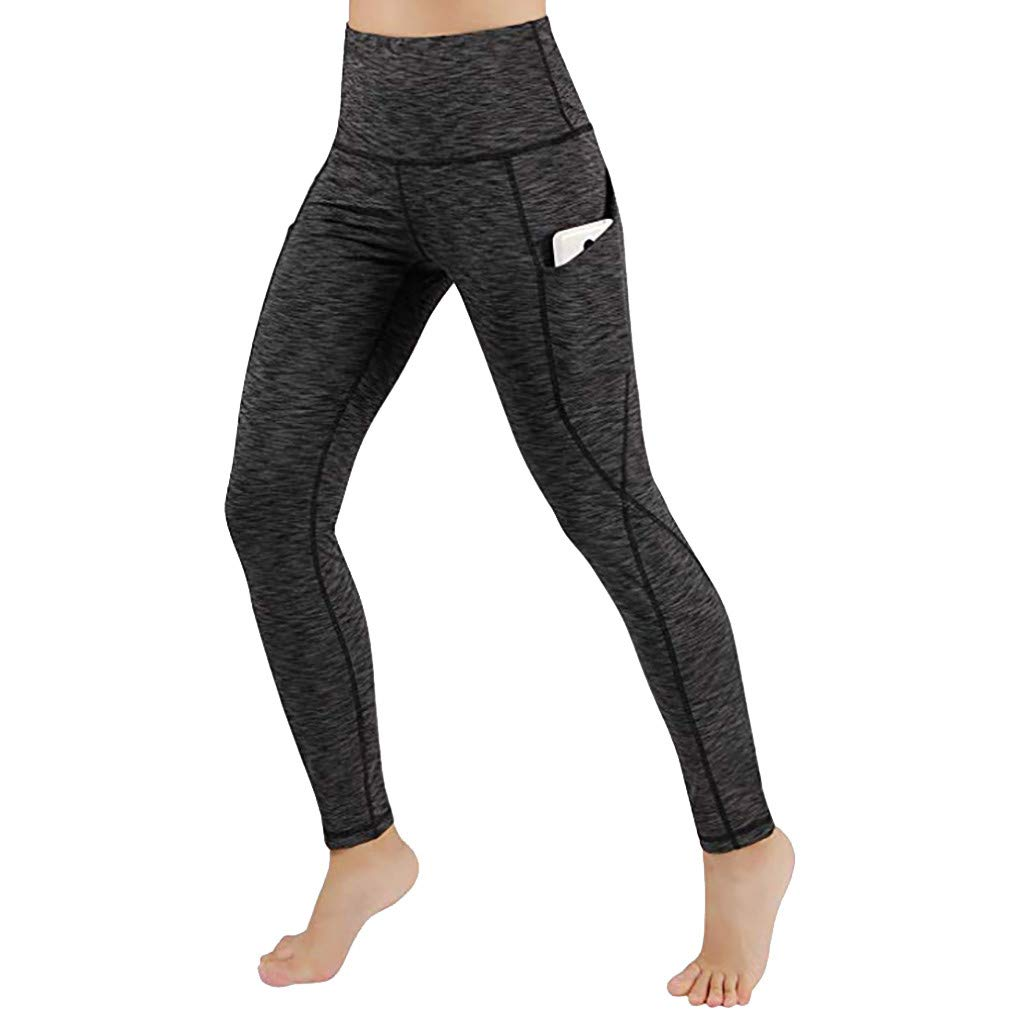 Womens Yoga Pants, Libermall Women's Fashion Workout Leggings with Pockets High Waist Solid Fitness Yoga Athletic Pants Black