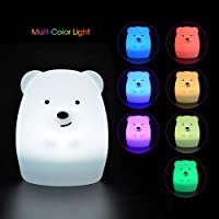 HAITRAL LED Night Lights for Kids - Cute Silicone Bear Baby Night Light with Touch Sensor, USB Rechargeable 8 Colors RGB Nursery Lamps for Kids Room Ideal Birthday Gift/Girls Gifts (TH-B01-21)