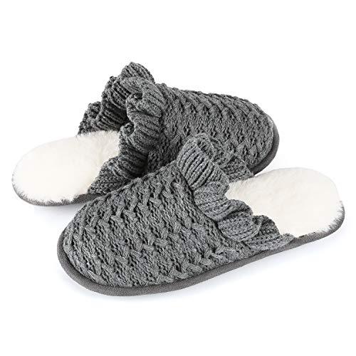 RockDove Women's Lace Knit Cuffed Slip-On with Memory Foam, 9-10 US, Gray ()