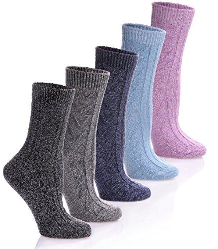 HERHILLY Women 5 Pack Fashion Warm Ribbed Knit Winter Crew Socks (5 Pack - Black/Gray/Blue/Pink/Dark Blue)