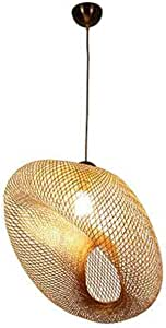Bamboo Wicker Wave Shadow Hanging Device Rustic Light Wine Japan Chandelier Hanging Family Restaurant Internal (Size : 60cm)