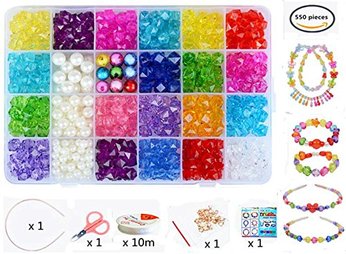 Colorful Acrylic Beads - Vytung Beads Set for Jewelry Making Kids Adults Children Craft DIY Necklace Bracelets Letter Alphabet Colorful Acrylic Crafting Beads Kit Box with Accessories(color#1)
