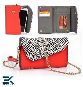 EPI Leather Women's Wallet with Universal Phone Bag Wristlet Purse fits Nokia Lumia 820 Case - RED & ZEBRA. Bonus Ekatomi Screen Cleaner