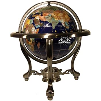 Amazon 14 blue lapis gemstone globe with gold stand toys games unique art 13 inch tall table top blue lapis ocean gemstone world globe with silver gumiabroncs Image collections