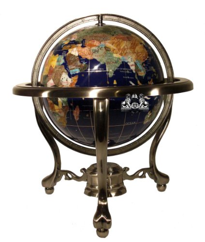 Ocean 13 Inch Gemstone Globe - Unique Art 13-Inch Tall Table Top Blue Lapis Ocean Gemstone World Globe with Silver Tripod Stand