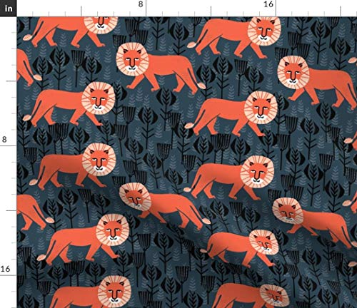 Lion Fabric - Safari Block Print Kids Design Wild Floral Nursery Apparel Home Decor Lions Print on Fabric by the Yard - Basketweave Cotton Canvas for Upholstery Home Decor Bottomweight Apparel