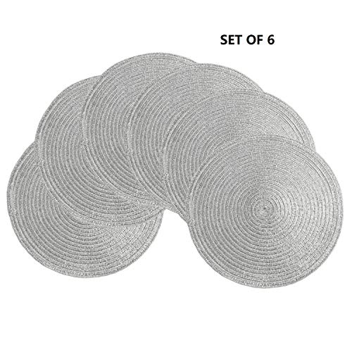 - Modernlife Metallic Glitter Round Woven Placemats, Set of 6, 14 Inch Braid Placemat Washable for Kitchen Table (Silver)