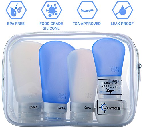 Travel Bottle Set with Leak Proof Silicone Bottles and Cream Jar in TSA Approved EVA Bag. Suitable for all Toiletries such as Shampoo and Conditioner. Bottles are 3 oz, 2 oz and 1.25 oz by Vumos