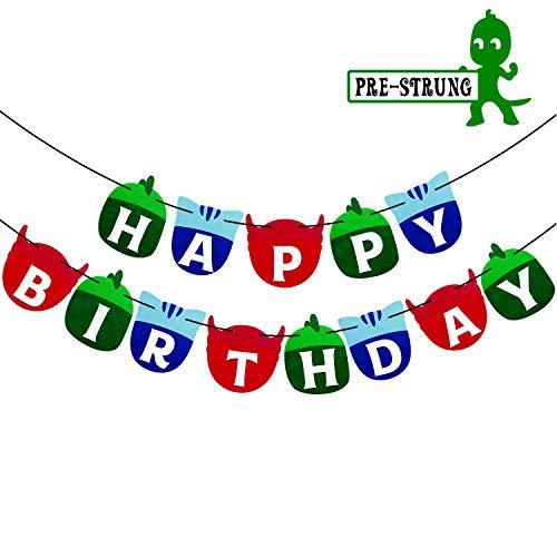 PJ Soft Masks Happy Birthday Banner Kids Party Decorations Felt Garland Supplies ()