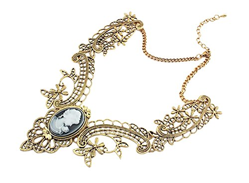 TOKYO-T Victorian Necklace for Women Cameo Gothic Gold Antique Pendant - Gold Victorian Necklace