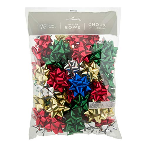 Hallmark Holiday 3quot Bow Assortment 75 Bows Traditional Holiday Colors for Christmas Gifts