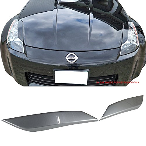 Pre-Painted Eyelid Fits 2003-2008 Nissan 350Z | Painted #WV2 Diamond Graphite Metallic ABS Headlight Eyelids Eyebrows Cover Other Color Available By IKON MOTORSPORTS | 2004 2005 2006 2007