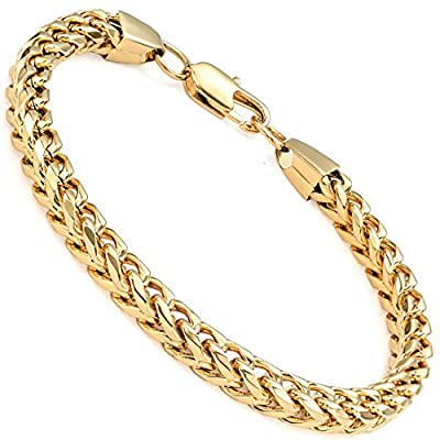 FIBO STEEL 6mm Wide Curb Chain Bracelet for Men Women Stainless Steel High Polished,8.5-9.1""