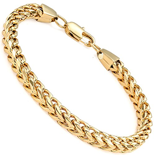FIBO STEEL 6-8 mm Wide Curb Chain Bracelet for Men Women Stainless Steel High Polished,8.5-9.1