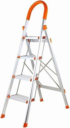 Ylmhe Escalera Plegable 4 Pasos / 5 Pasos Tijera Aluminio Plegable Plataforma Ligero Capacidad 150 kg (330 lbs) con empuñadura Antideslizante y Pedal Ancho Multiuso, 4: Amazon.es: Hogar
