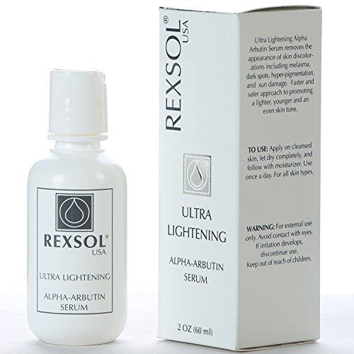 REXSOL Ultra Lightening Alpha Arbutin Serum | With Vitamin C | Fade Dark Spots, Freckles, Hyper-pigmentation, Melasma, Discolorations | Body, Face, Neck, Bikini, Sensitive Areas | 2 fl oz