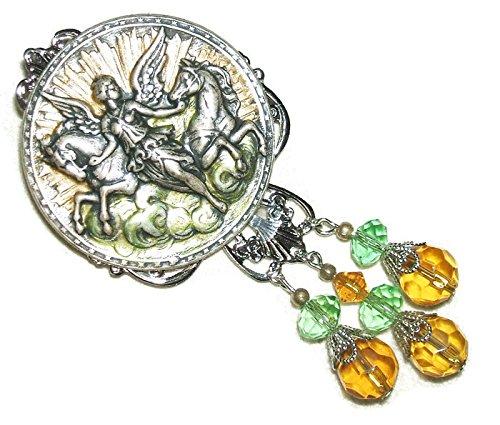 VICTORIAN ANGEL HORSES BROOCH PIN Amber Green Glass Crystal Drops Silver Pltd