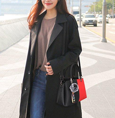 LINNUO Mujer Clásico Color de Contraste Bolsa De Crossbody PU Cuero Bolsos Bandolera Grande Capacidad oficina Bolsa De Hombro Estilo2