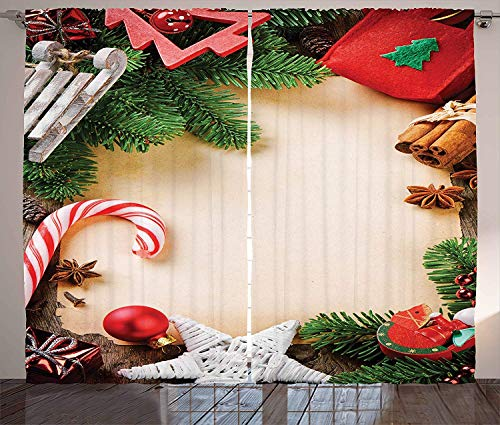 Crystal Emotion 39inch Blackout Curtains for Living Room/Bedroom, Window Drapes Thermal Insulated Grommet Room Darkening Treatment 2 Panels Set(Christmas Assortment of Festive Ornaments Cinnamon -