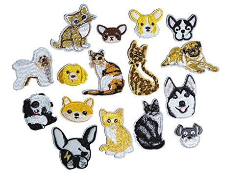 Set of 16 Assorted Embroidery Applique Decoration DIY Patch Animal Panda Dog Cat Fun Design Face Kit Iron On Shirt Jacket Bag Hat Pant Vest Jean Clothe Kid Birthday Gift