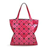 15 Colors Women Geometry Bao Tote Shimmer Handbag Diamond Lattice Shopper Hot pink