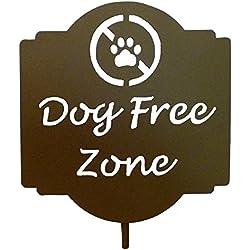 "Haute Steel ""Dog Free Zone"" Metal Sign Garden Stake"