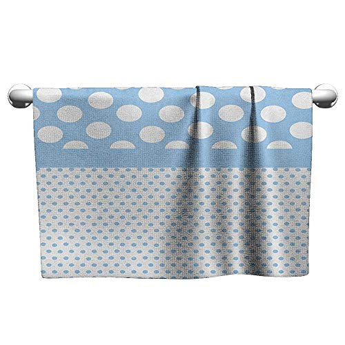 (Art Towel Polka Dots,Baby Blue Polka Dots Pattern Modern in Nursery Boys Colors Vintage Design Print, Blue White,Hooded Towel for Baby boy)