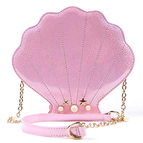 (LUI SUI Women Novelty Laser Shell Shape Cross-body Shoulder Bags Pearl Chain Evening Purse)