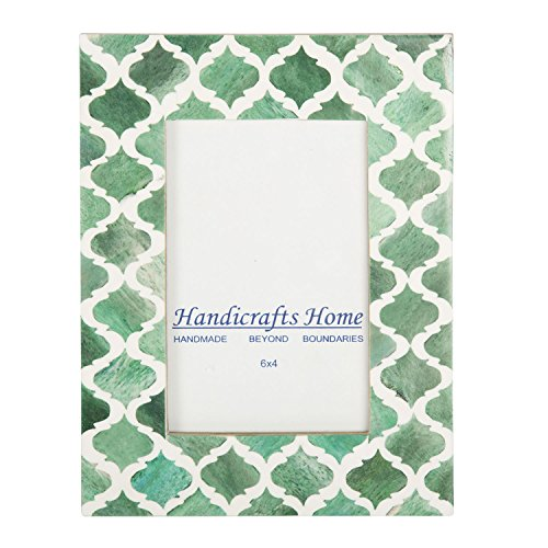 Picture Photo Frame Moorish Damask Moroccan Arts Inspired Handmade Naturals Bone Frames Photo Size 4x6 & 5X7 Inches (5X7, Green & (Green 5x7 Photo)