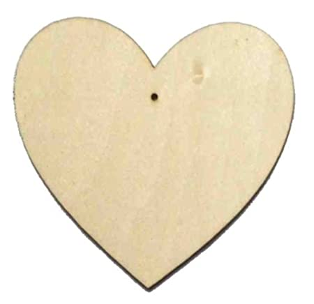10 x wooden heart shapes plain wood craft tags with hole 30mm 3cm