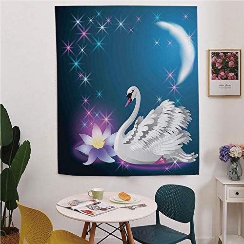 Swan Blackout Window curtain,Free Punching Magic Stickers Curtain,Magic Lily and Fairy Swan at Night Swimming in Lake under Moon and Stars Picture Art,for Living Room,study, kitchen, dormitory, Hotel,