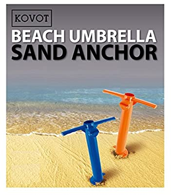 KOVOT Beach Umbrella Sand Anchor - Hold Your Umbrella In Place At the Beach - 2 Unit Included (Assorted Colors Orange or Blue)