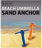 KOVOT Beach Umbrella Sand Anchor - Hold Your Umbrella In Place At the Beach - 1 Unit Included (Assorted Colors Orange or Blue)