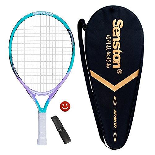 Senston 19 Junior Tennis Racquet for Kids Children Boys Girls Tennis Rackets with Racket Cover Light Blue with Cover Tennis Overgrip Vibration Damper