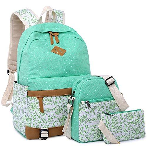 BLUBOON Teens Backpack Set Girls School Bags Travel Rucksack Bookbags 3 in 1 (Water blue-10-C3)