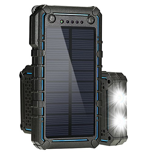 Hallomall Solar Charger,Solar Power Bank 13500mAh Portable Solar Phone Charger External Solar Panel Battery Pack Phone Charger with Dual USB and 2 LED Flashlights for iPhone, Android Phones, and More -