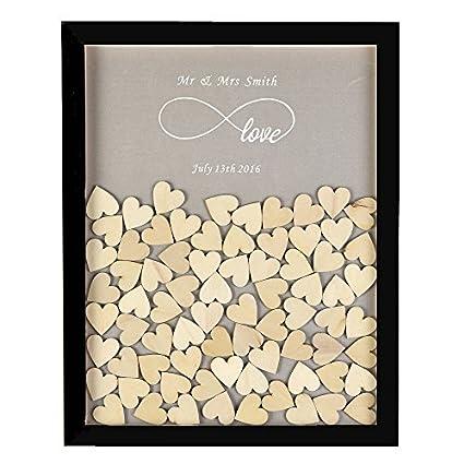 GUESTBOOK Personalized Wedding Guest Book,Custom Name & Date Infinite Love Alternative Wood Drop Top Frame Wedding Guest Book Box Rustic Unique 150Pcs Hearts Decor Guestbooks