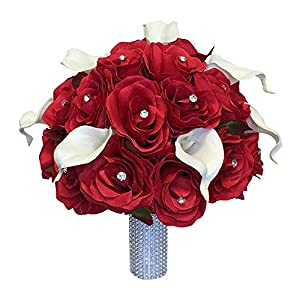 Wedding Bouquet - Red Silk Roses, Natural White Real Touch Calla Lily 85