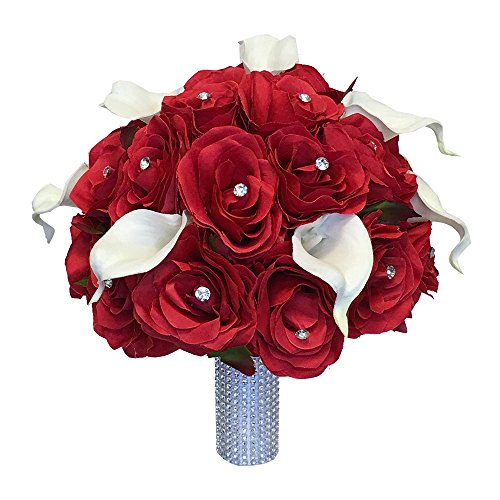 Wedding Bouquet - Red Silk Roses, Natural White Real Touch Calla Lily by Angel Isabella