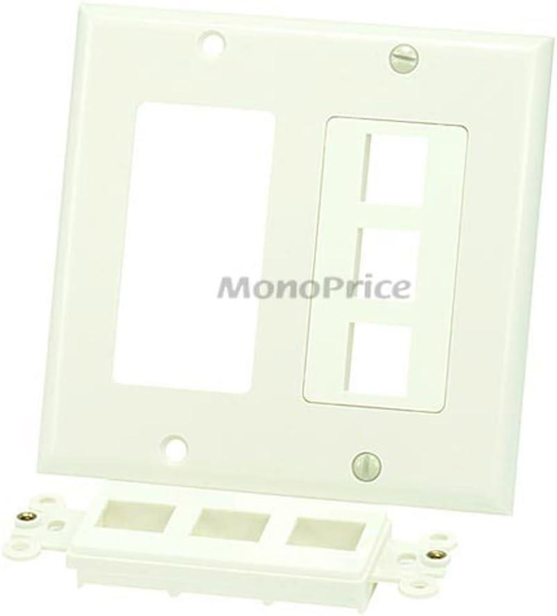 Ivory 2 Pack Monoprice Electronics Monoprice 106834 2-Gang Wall Plate for Keystone 6 Hole