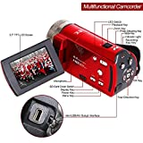 Camera Camcorders, Besteker Portable Digital Video Camcorder HD Max. 16.0 Megapixels 1280*720P DV 2.7 Inches TFT LCD Screen 16X Zoom Camera Recorder (108-Red)
