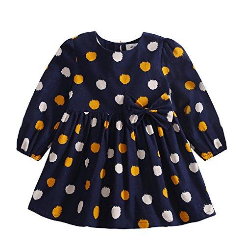 BOBORA Baby Toddler Girls Dress Polka Dot Print Sleeveless Top (S/2-3 Year, Deep blue) (Sleeveless Two Tops)