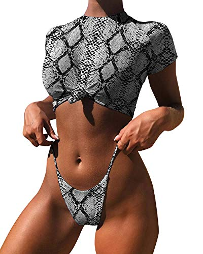 - OMKAGI Women's Short Sleeve Bikini Set Sport Swimsuit Top High Cut Thong Bottom(S,Gray-YB1914)