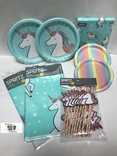 Magical Rainbow Unicorn Themed Birthday Party Pack for 20 with (2) Table (Themed Pack)