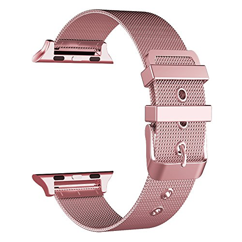 Buckle Gold Mesh (GEOTEL Band for Apple Watch 38mm 42mm, Stainless Steel Mesh Milanese Loop with Classic Buckle Closure Replacement Metal iWatch Band for Watch Series 3 2 1)