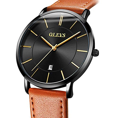 Dial Brown Dress (Men's Watches with Black Face,Slim Watch for Men,Waterproof Mens Casual Business Wrist Watch,Ultra Thin Luxury Watches for Men,Simple Brown/Black/Yellow Leather Black Dial Dress Watch Men with Date)